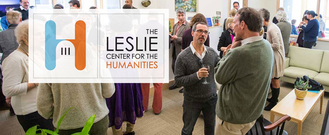 Leslie Center logo superimposed over a group of people chatting
