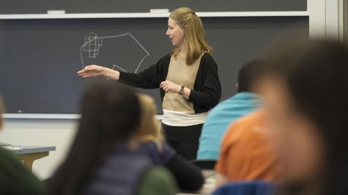 Denise Anthony, Professor of Sociology, teaches class