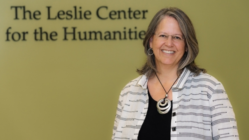 Photo shows Rebecca Biron, the new director of the Leslie Center
