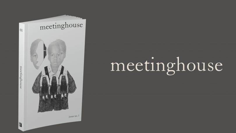The journal Meetinghouse in front of a gray background